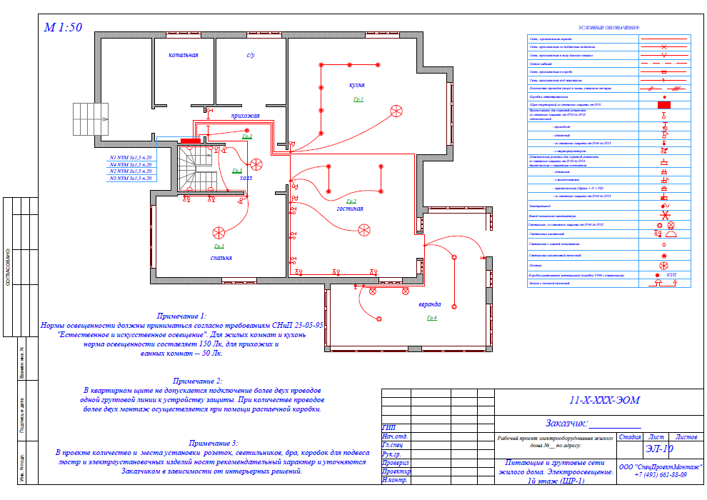План схема электропроводки для квартиры