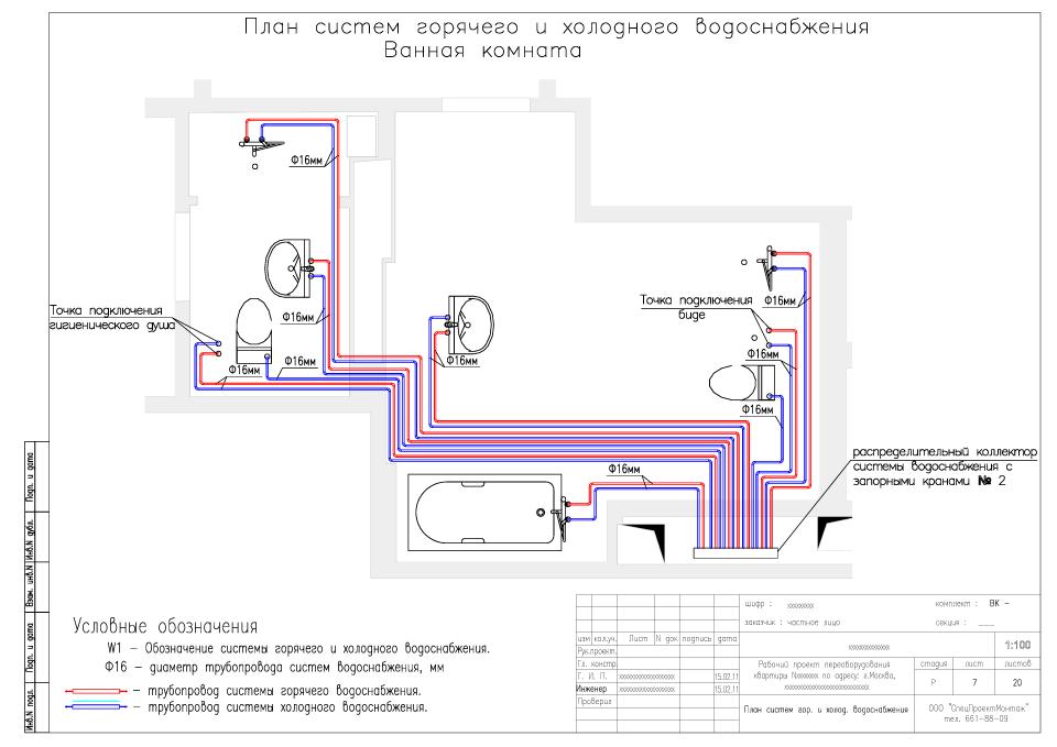 Схема системы холодного водоснабжения дома